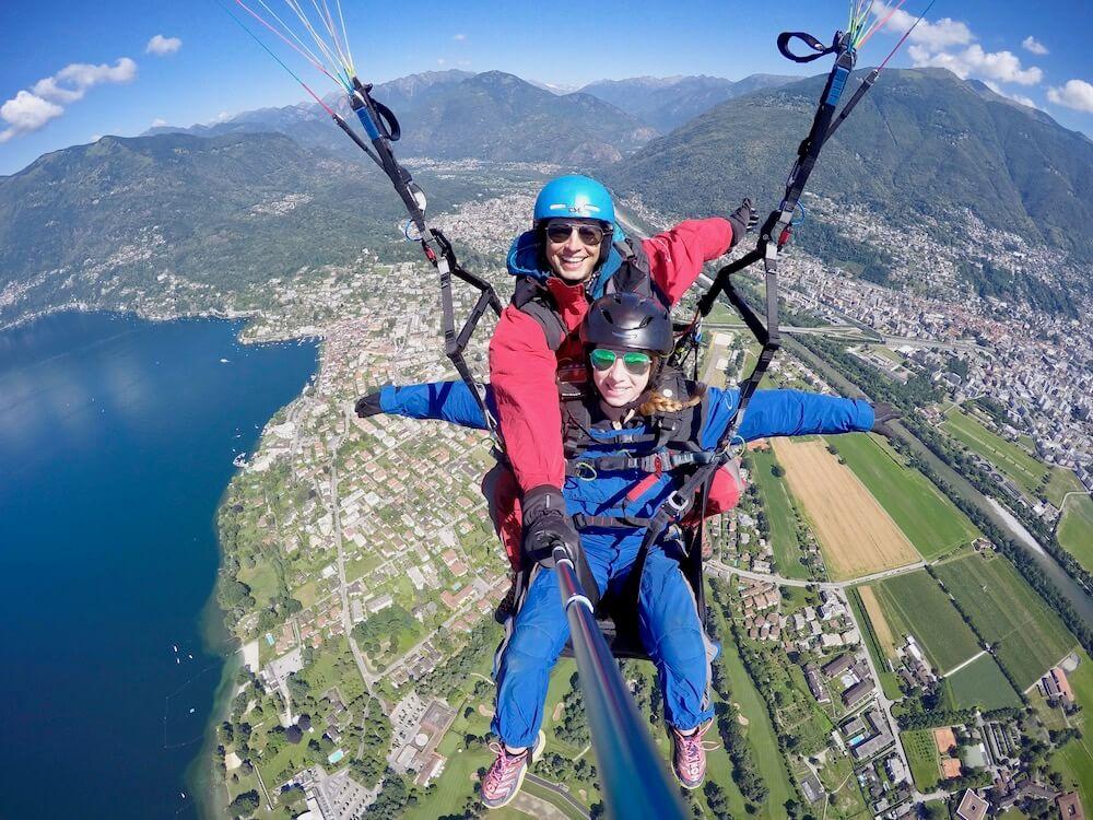 Tandem Paragliding in Ticino above Lugano & Locarno - FlyTicino
